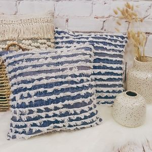 Anthropologie Embroidered Fringe Throw Pillow Set